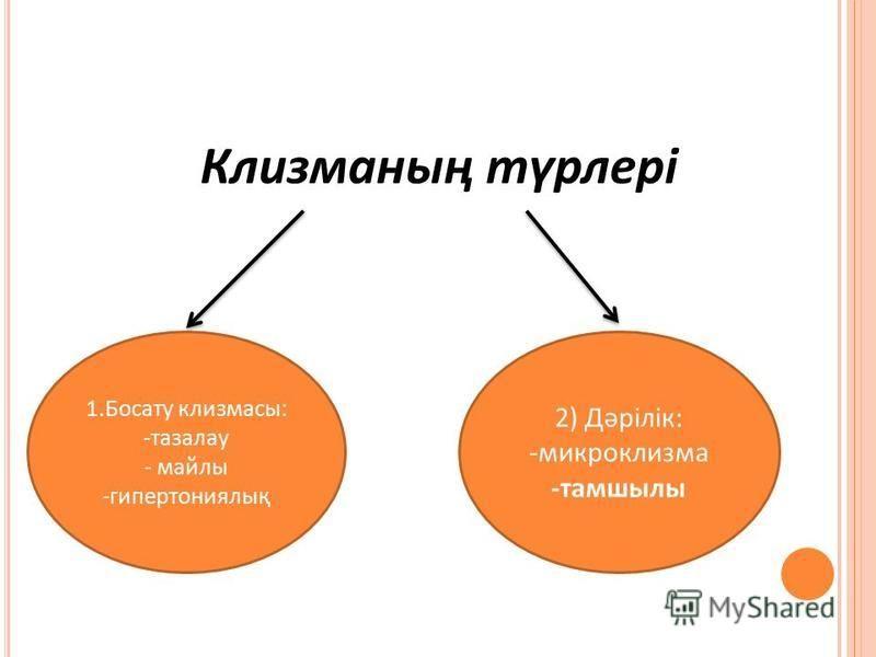 Клизманның түрлері 1. Босайту клизма с: -тазалау - ссмайлы -гипертониялық 2) Дәрілік: -микроклизма -тамшилы