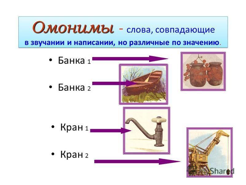 Омонимы Омонимы - слова, совпадающие в звучании и написании, но различные по значению. Омонимы - слова, совпадающие в звучании и написании, но различные по значению. Банка 1 2 Кран 1 2