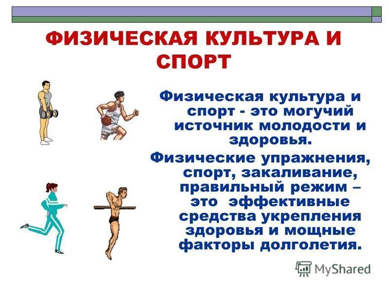 ФИЗИЧЕСКАЯ КУЛЬТУРА И СПОРТ Физическая культура и спорт - это могучий источник молодости и здоровья. Физические упражнения, спорт, закаливание, правильный режим – это эффективные средства укрепления здоровья и мощные факторы долголетия.