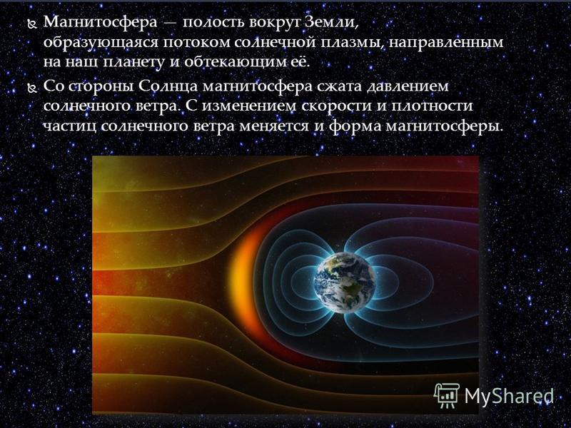 Магнитосфера полость вокруг Земли, образующаяся потоком солнечной плазмы, направленным на наш планету и обтекающим её. Со стороны Солнца магнитосфера сжата давлением солнечного ветра. С изменением скорости и плотности частиц солнечного ветра меняется