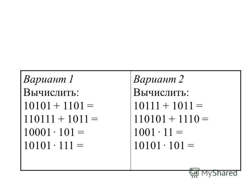 Вариант 1 Вычислить: 10101 + 1101 = 110111 + 1011 = 10001. 101 = 10101. 111 = Вариант 2 Вычислить: 10111 + 1011 = 110101 + 1110 = 1001. 11 = 10101. 101 =