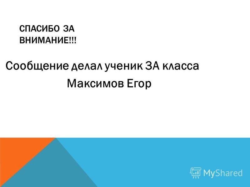 СПАСИБО ЗА ВНИМАНИЕ!!! Сообщение делал ученик 3А класса Максимов Егор