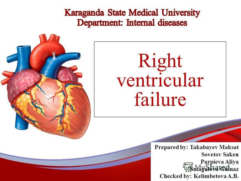 Right ventricular failure Prepared by: Takabayev Maksat Sovetov Saken Parpieva Aliya Smagulova Gulnaz Checked by: Kelimbetova A.B.