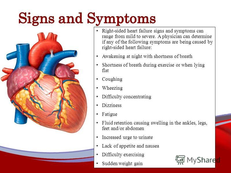 Right-sided heart failure signs and symptoms can range from mild to severe. A physician can determine if any of the following symptoms are being caused by right-sided heart failure: Awakening at night with shortness of breath Shortness of breath duri