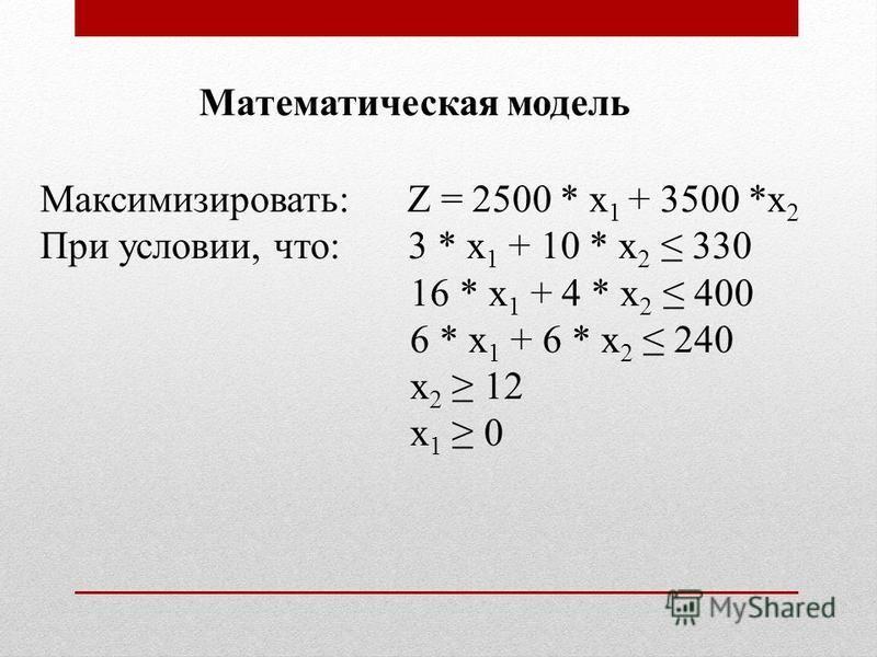 Максимизировать: Z = 2500 * х 1 + 3500 *х 2 При условии, что: 3 * х 1 + 10 * х 2 330 16 * х 1 + 4 * х 2 400 6 * х 1 + 6 * х 2 240 х 2 12 х 1 0 Математическая модель