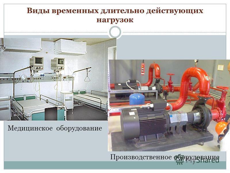 Виды временных длительно действующих нагрузок Производственное оборудование Медицинское оборудование
