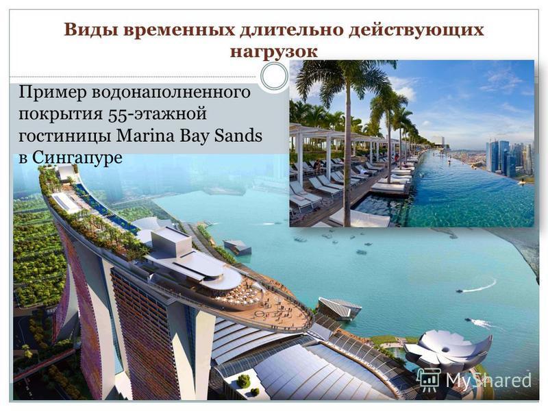 Виды временных длительно действующих нагрузок Пример водонаполненного покрытия 55-этажной гостиницы Marina Bay Sands в Сингапуре