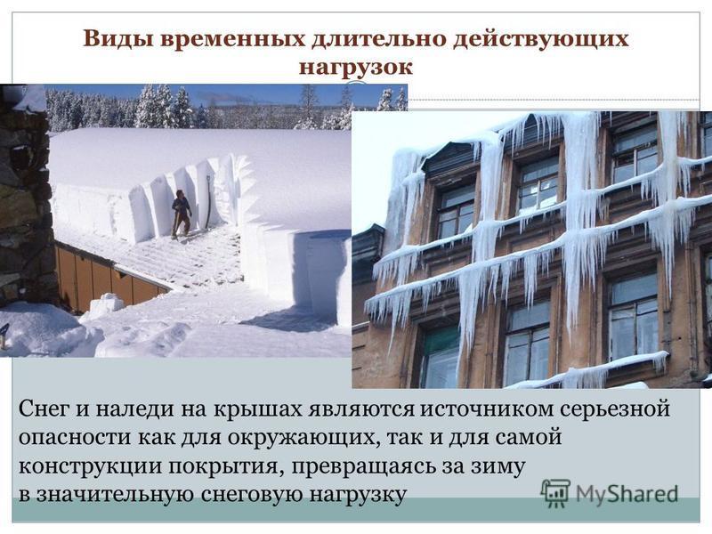 Снег и наледи на крышах являются источником серьезной опасности как для окружающих, так и для самой конструкции покрытия, превращаясь за зиму в значительную снеговую нагрузку Виды временных длительно действующих нагрузок