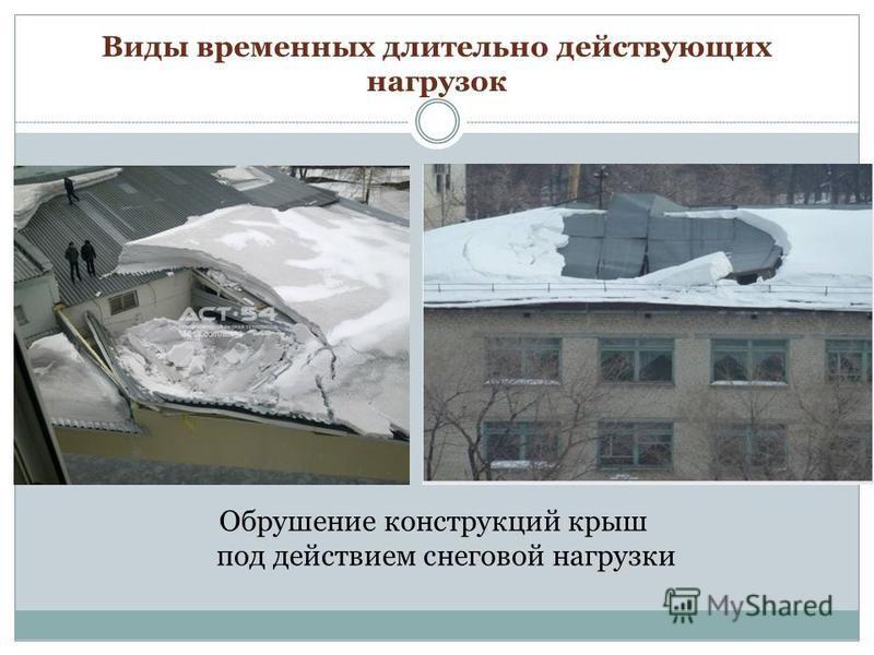 Обрушение конструкций крыш под действием снеговой нагрузки Виды временных длительно действующих нагрузок