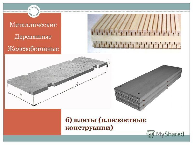 Металлические Деревянные Железобетонные б) плиты (плоскостные конструкции)