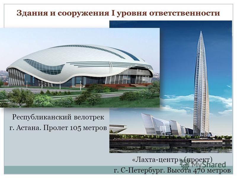 Здания и сооружения I уровня ответственности Республиканский велотрек г. Астана. Пролет 105 метров « Лахта-центр» (проект) г. С-Петербург. Высота 470 метров