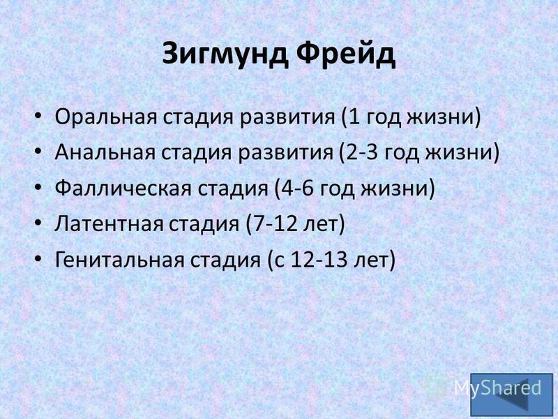 Зигмунд Фрейд Оральная стадия развития (1 год жизни) Анальная стадия развития (2-3 год жизни) Фаллическая стадия (4-6 год жизни) Латентная стадия (7-12 лет) Генитальная стадия (с 12-13 лет)