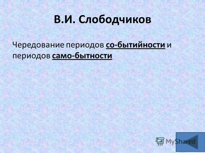 В.И. Слободчиков Чередование периодов со-бытийности и периодов само-бытности