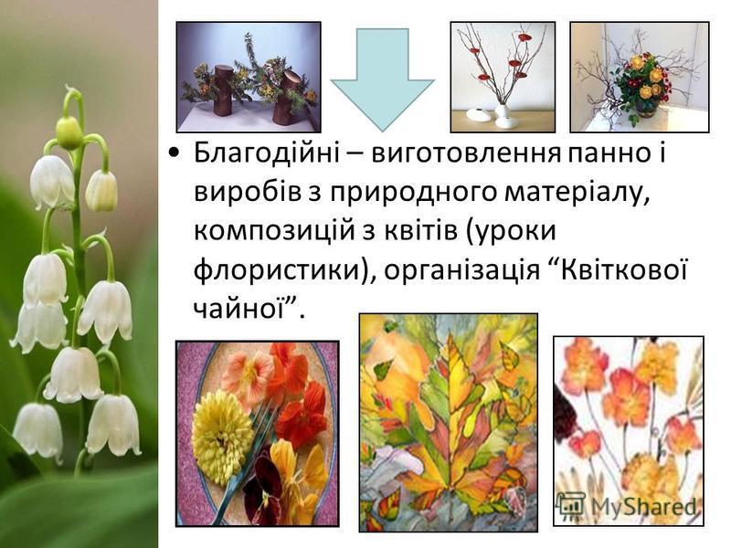 Благодійні – виготовлення панно і виробів з природного матеріалу, композицій з квітів (уроки флористики), організація Квіткової чайної.