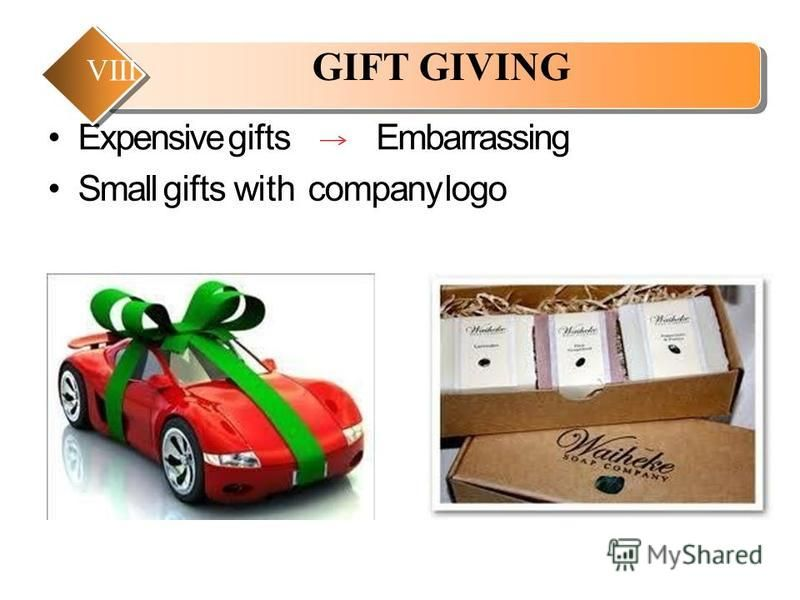 Expensive giftsEmbarrassing Small gifts with company logo GIFT GIVING VIII
