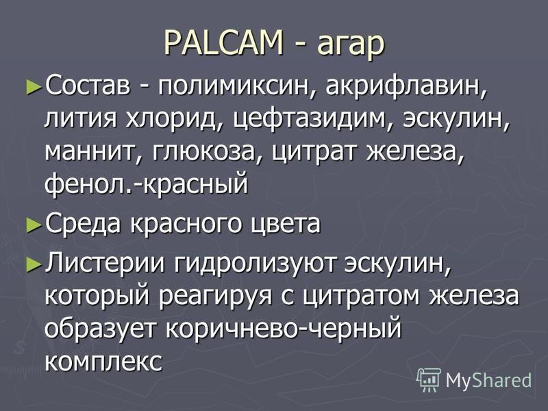 PALCAM - агар Состав - полимиксин, акрифлавин, лития хлорид, цефтазидим, эскулин, маннит, глюкоза, цитрат железа, фенол.-красный Состав - полимиксин, акрифлавин, лития хлорид, цефтазидим, эскулин, маннит, глюкоза, цитрат железа, фенол.-красный Среда