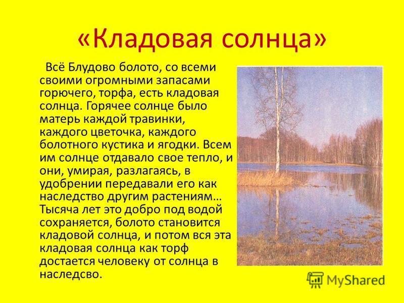 «Кладовая солнца» Всё Блудово болото, со всеми своими огромными запасами горючего, торфа, есть кладовая солнца. Горячее солнце было матерь каждой травинки, каждого цветочка, каждого болотного кустика и ягодки. Всем им солнце отдавало свое тепло, и он