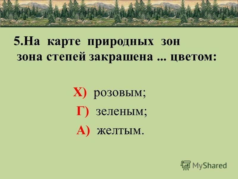 5. На карте природных зон зона степей закрашена... цветом: Х) розовым; Г) зеленым; А) желтым.