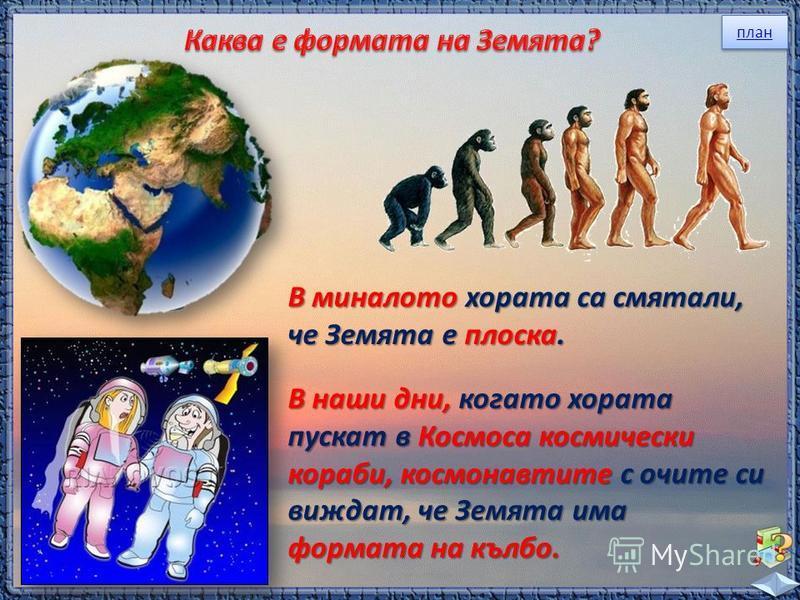 план В миналото хората са смятали, че Земята е плоска. В наши дни, когато хората пускат в Космоса космически кораби, космонавтите с очите си виждат, че Земята има формата на кълбо.
