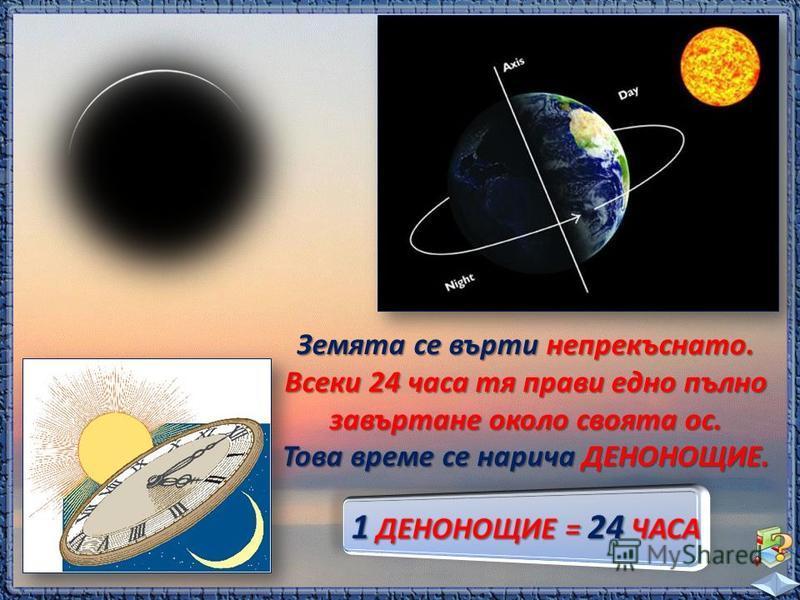 Земята се върти непрекъснато. Всеки 24 часа тя прави едно пълно завъртане около своята ос. Това време се нарича ДЕНОНОЩИЕ.