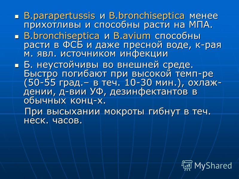 B.parapertussis и B.bronchiseptica менее прихотливы и способны расти на МПА. B.parapertussis и B.bronchiseptica менее прихотливы и способны расти на МПА. B.bronchiseptica и B.avium способны расти в ФСБ и даже пресной воде, к-рая м. явл. источником ин