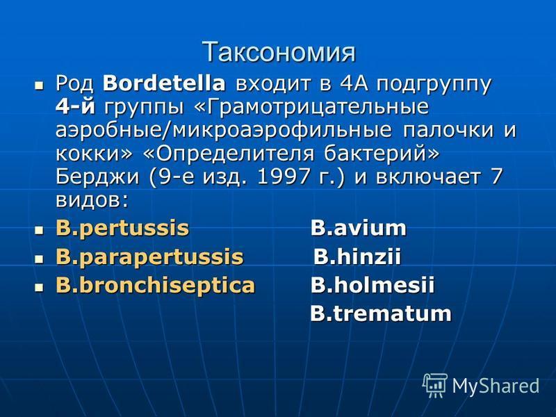 Таксономия Род Bordetella входит в 4А подгруппу 4-й группы «Грамотрицательные аэробные/микроаэрофильные палочки и кокки» «Определителя бактерий» Берджи (9-е изд. 1997 г.) и включает 7 видов: Род Bordetella входит в 4А подгруппу 4-й группы «Грамотрица
