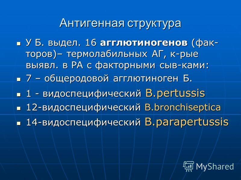 Антигенная структура У Б. выдел. 16 агглютиногенов (фак- торов)– термолабильных АГ, к-рые выявл. в РА с факторными сыв-ками: У Б. выдел. 16 агглютиногенов (фак- торов)– термолабильных АГ, к-рые выявл. в РА с факторными сыв-ками: 7 – общеродовой агглю