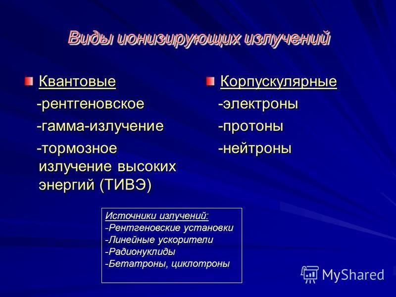 Виды ионизирующих излучений Квантовые -рентгеновское -рентгеновское -гамма-излучение -гамма-излучение -тормозное излучение высоких энергий (ТИВЭ) -тормозное излучение высоких энергий (ТИВЭ)Корпускулярные -электроны -электроны -протоны -протоны -нейтр