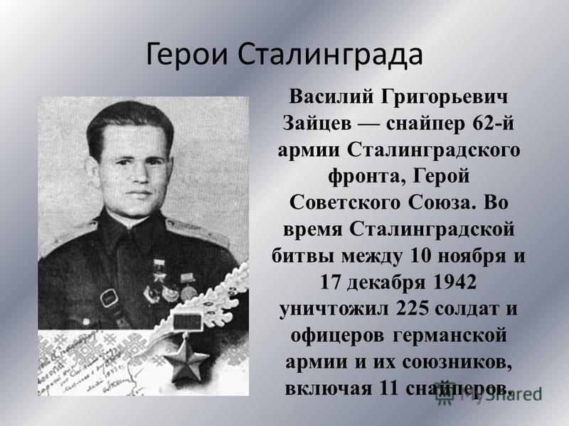 Герои Сталинграда Василий Григорьевич Зайцев снайпер 62-й армии Сталинградского фронта, Герой Советского Союза. Во время Сталинградской битвы между 10 ноября и 17 декабря 1942 уничтожил 225 солдат и офицеров германской армии и их союзников, включая 1