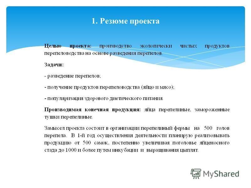 1. Резюме проекта