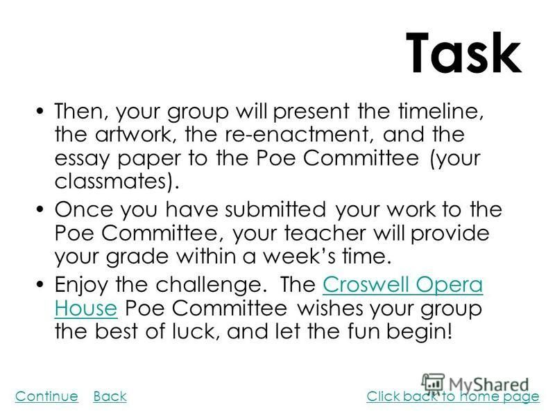 Task Then, your group will present the timeline, the artwork, the re-enactment, and the essay paper to the Poe Committee (your classmates). Once you have submitted your work to the Poe Committee, your teacher will provide your grade within a weeks ti