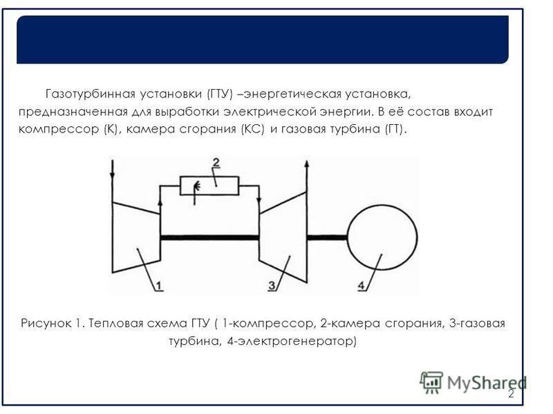 Газотурбинная установки (ГТУ) –энергетическая установка, предназначенная для выработки электрической энергии. В её состав входит компрессор (К), камера сгорания (КС) и газовая турбина (ГТ). Рисунок 1. Тепловая схема ГТУ ( 1-компрессор, 2-камера сгора