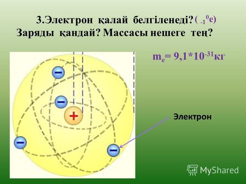 2.Атомның құрылысын кім айтып береді? Атомның центрінде ядро орналасқан, электрондар ядро айналасында эллипстік орбита бойымен қозғалады.