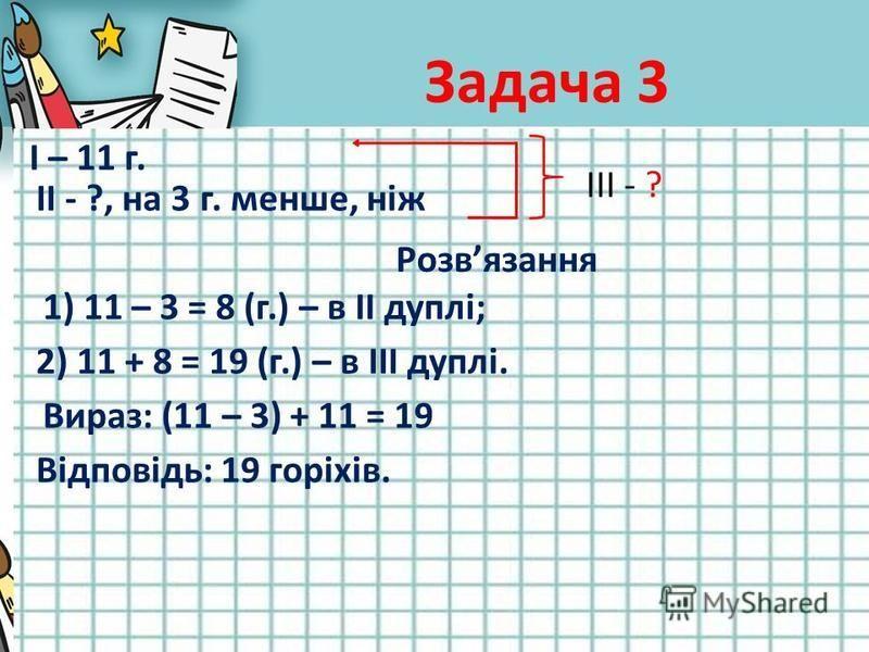 Задача 3 І – 11 г. ІІ - ?, на 3 г. менше, ніж ІІІ - ? Розвязання 1) 11 – 3 = 8 (г.) – в ІІ дуплі; 2) 11 + 8 = 19 (г.) – в ІІІ дуплі. Вираз: (11 – 3) + 11 = 19 Відповідь: 19 горіхів.