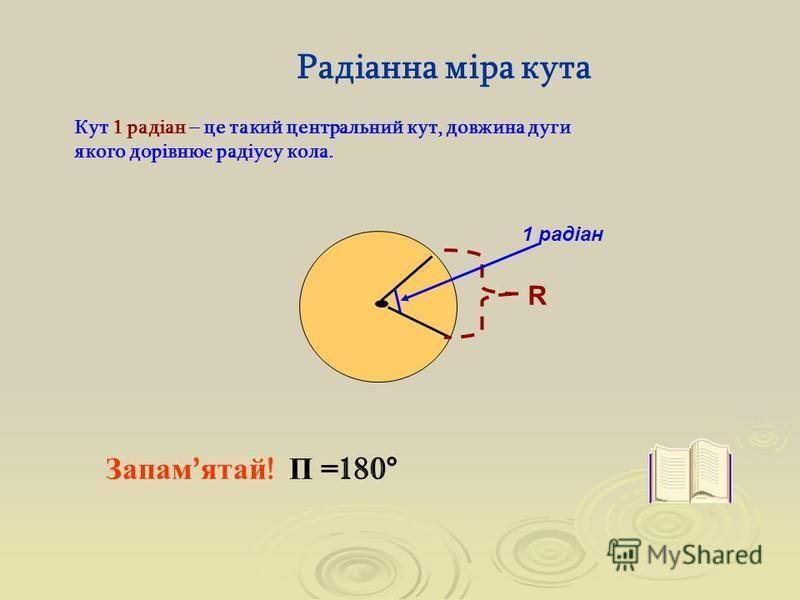 Радіанна міра кута Кут 1 радіан – це такий центральний кут, довжина дуги якого дорівнює радіусу кола. 1 радіан R Запам ' ятай ! Π =180°