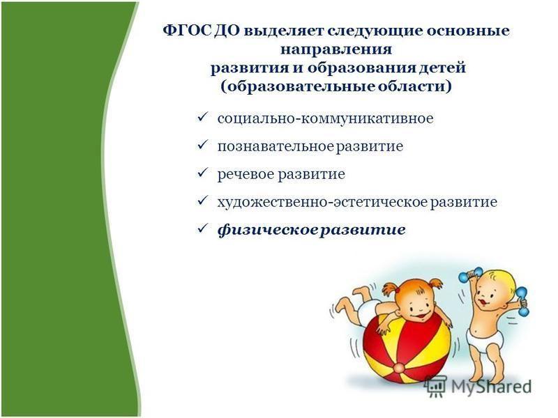 ФГОС ДО выделяет следующие основные направления развития и образования детей (образовательные области) социально-коммуникативное познавательное развитие речевое развитие художественно-эстетическое развитие физическое развитие