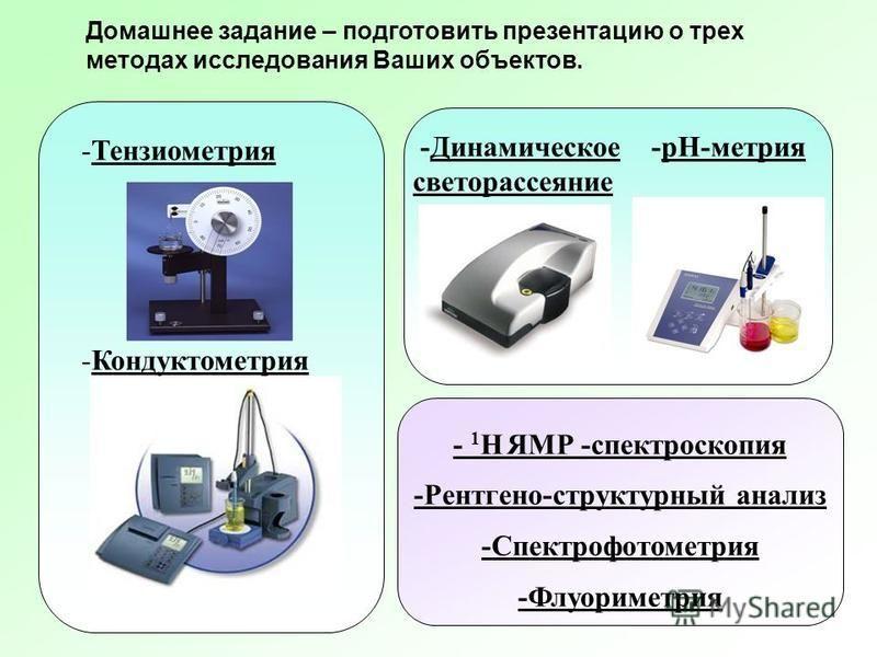 -Динамическое -рН-метрия светорассеяние -Тензиометрия -Кондуктометрия - 1 Н ЯМР -спектроскопия -Рентгено-структурный анализ -Спектрофотометрия -Флуориметрия Домашнее задание – подготовить презентацию о трех методах исследования Ваших объектов.