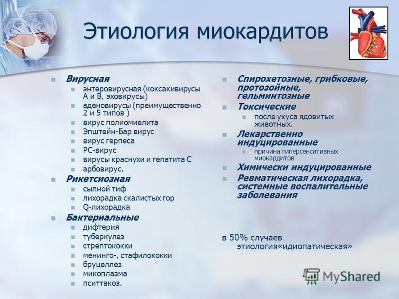 Этиология миокардитов Вирусная Вирусная энтеровирусная (коксакивирусы А и В, эхо вирусы) энтеровирусная (коксакивирусы А и В, эхо вирусы) аденовирусы (преимущественно 2 и 5 типов ) аденовирусы (преимущественно 2 и 5 типов ) вирус полиомиелита вирус п