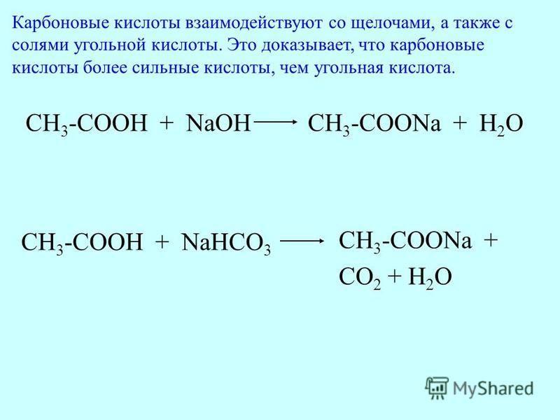 CH 3 -COOH + NaOHCH 3 -COONa + H 2 O CH 3 -COOH + NaHCO 3 CH 3 -COONa + CO 2 + H 2 O Карбоновые кислоты взаимодействуют со щелочами, а также с солями угольной кислоты. Это доказывает, что карбоновые кислоты более сильные кислоты, чем угольная кислота