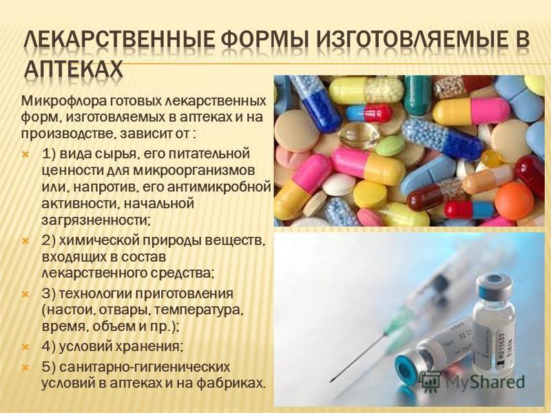 Микрофлора готовых лекарственных форм, изготовляемых в аптеках и на производстве, зависит от : 1) вида сырья, его питательной ценности для микроорганизмов или, напротив, его антимикробной активности, начальной загрязненности; 2) химической природы ве