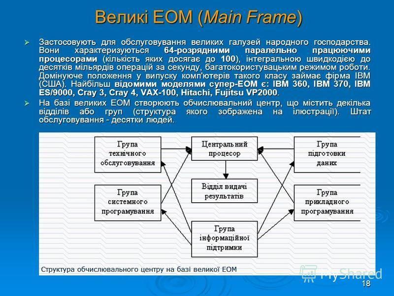 17 Методи класифікації комп'ютерів Номенклатура видів комп'ютерів на сьогодні величезна: машини розрізняються за призначенням, потужністю, розмірами, елементною базою і т.д. Тому класифікують ЕОМ за різними ознаками. Слід зауважити, що будь-яка класи