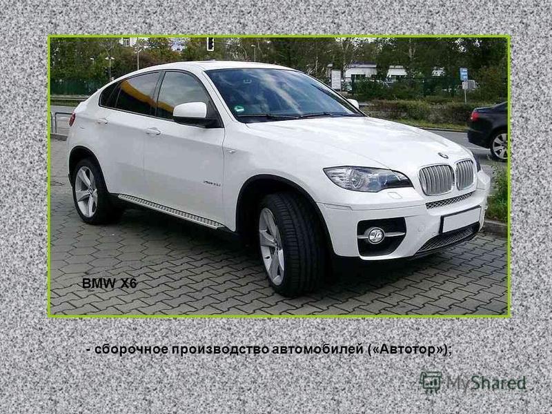 - сборочное производство автомобилей («Автотор»); BMW X6