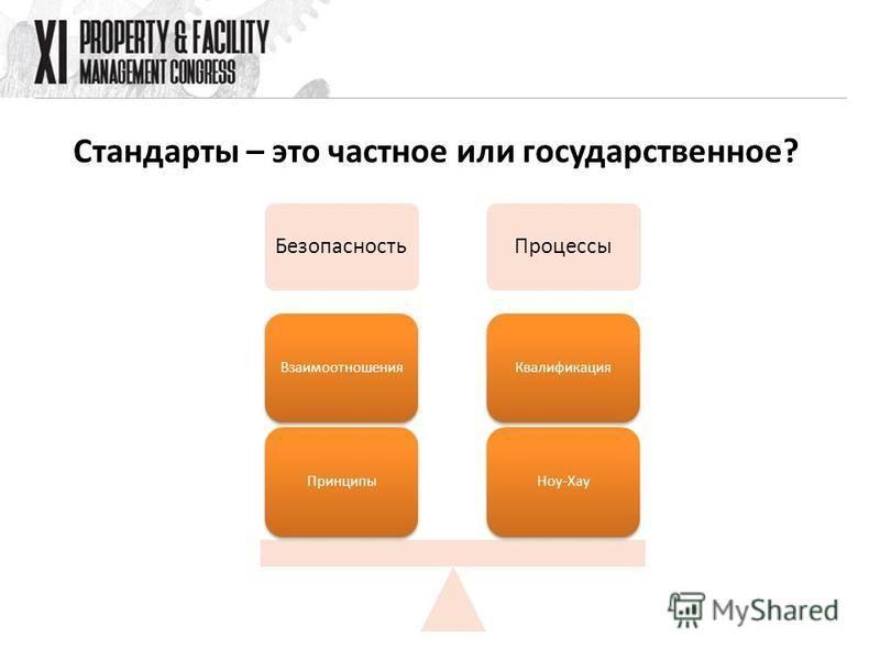 Стандарты – это частное или государственное? Безопасность Процессы Ноу-Хау КвалификацияПринципы Взаимоотношения