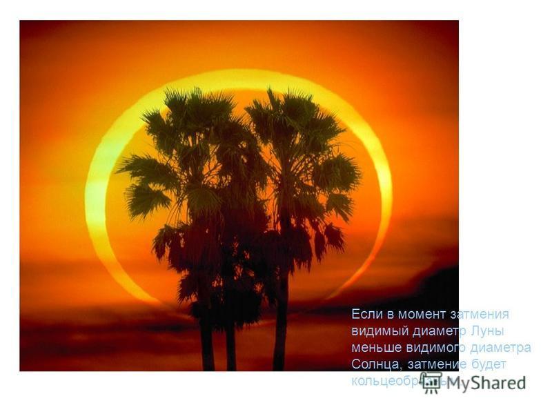 Если в момент затмения видимый диаметр Луны меньше видимого диаметра Солнца, затмение будет кольцеобразным.