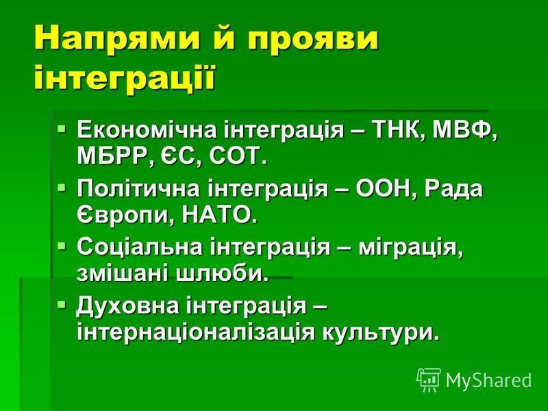Напрями й прояви інтеграції Економічна інтеграція – ТНК, МВФ, МБРР, ЄС, СОТ. Економічна інтеграція – ТНК, МВФ, МБРР, ЄС, СОТ. Політична інтеграція – ООН, Рада Європи, НАТО. Політична інтеграція – ООН, Рада Європи, НАТО. Соціальна інтеграція – міграці
