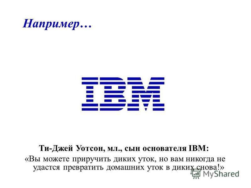 Например… Ти-Джей Уотсон, мл., сын основателя IBM: «Вы можете приручить диких уток, но вам никогда не удастся превратить домашних уток в диких снова!»