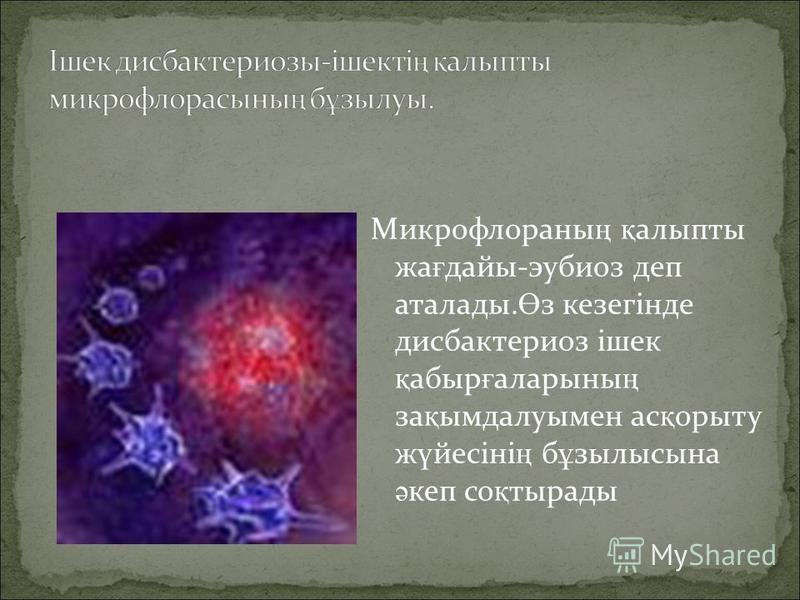 Микрофлоранны ң қ алыпты же ғ даты-эубиоз деп аталады. Ө з кезегінде дисбактериоз ішек қ абыр ғ ларины ң за қ ымдалуимен ас қ опыту ж ү йесіні ң б ұ зилысына ә кап со қ тирады