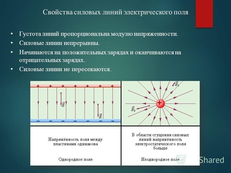 Свойства силовых линий электрического поля Густота линий пропорциональна модулю напряженности. Силовые линии непрерывны. Начинаются на положительных зарядах и оканчиваются на отрицательных зарядах. Силовые линии не пересекаются.