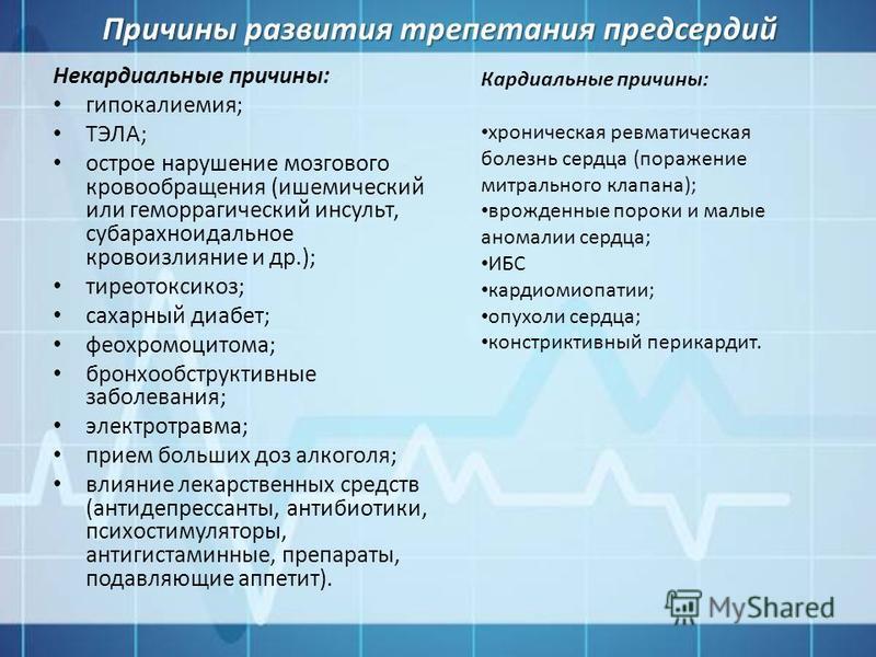 Причины развития трепетания предсердий Некардиальные причины: гипокалиемия; ТЭЛА; острое нарушение мозгового кровообращения (ишемический или геморрагический инсульт, субарахноидальное кровоизлияние и др.); тиреотоксикоз; сахарный диабет; феохромоцито