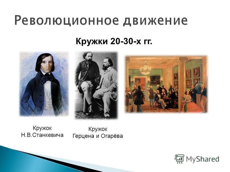 Кружки 20-30-х гг. Кружок Н.В.Станкевича Кружок Герцена и Огарёва
